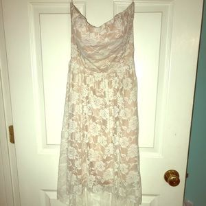 Strapless/backless, White, high/low w/floral print